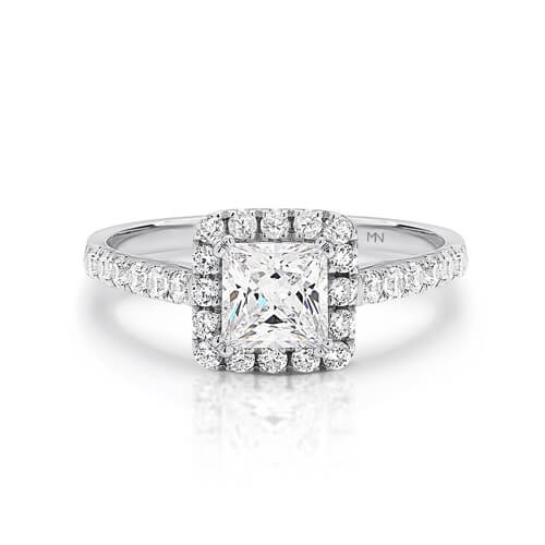 Square cut diamond ring with halo and sidestones